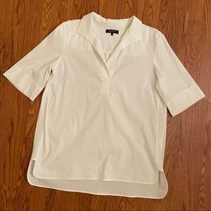 Lafayette 148 White Collared Popover Dress Shirt L